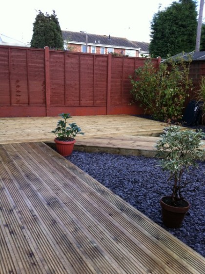 Before after kidderminster fencing for Garden decking before and after